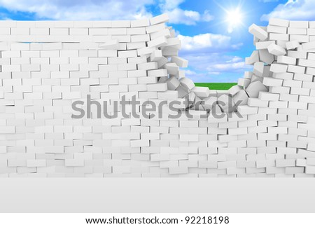 Broken Brick Wall with beautiful landscape behind (High Resolution 3D Image) - stock photo