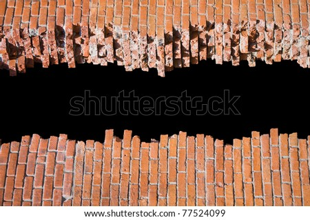Broken brick wall with copyspace for your text - stock photo