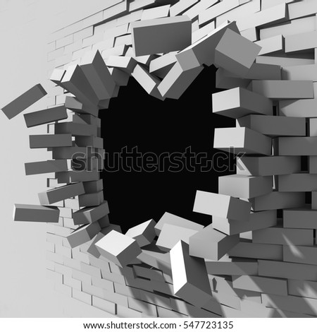 Broken brick wall with explosion cracked hole. 3d render illustration