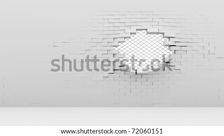 Broken Brick Wall with metal lattice - stock photo