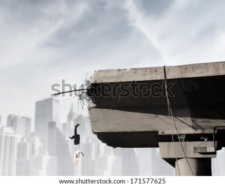 broken bridge - stock photo