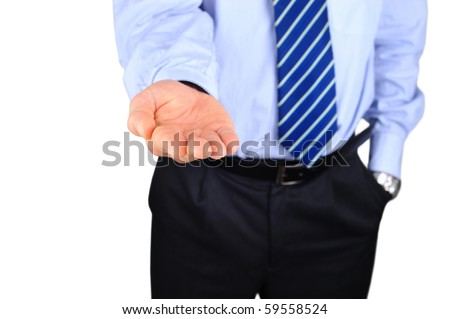 Broken businessman is begging for a change - stock photo