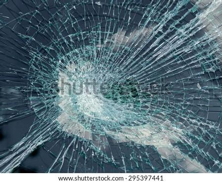 Broken car glass - stock photo