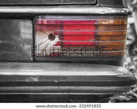 Broken Car light, Auto Parts with old condition grunge background object - stock photo
