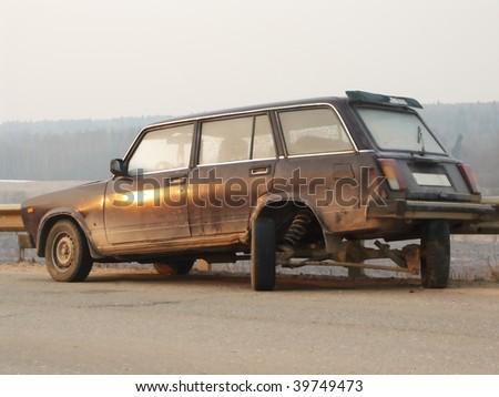 broken car on road . - stock photo
