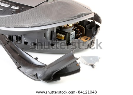 Broken cd-player isolated on a white background - stock photo