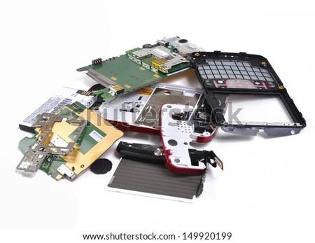 Broken cell phone in pieces