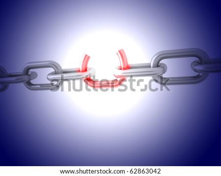 Broken chain - stock photo
