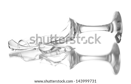 Broken champagne glass isolated on white - stock photo