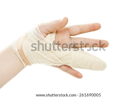 Broken child hand.  Isolated on white background - stock photo