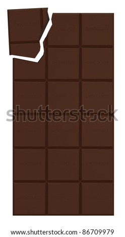 Broken Chocolate Bar isolated on white background - stock photo