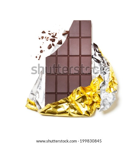 Broken chocolate bar wrapped in foil on white background - stock photo