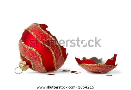 Broken christmas ball - stock photo