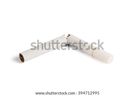 Broken cigarette in half. Smoking issues. Isolated on white