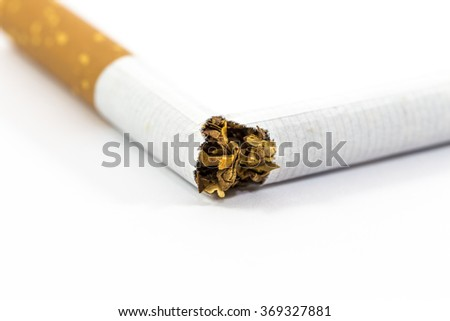 Broken cigarette isolated on white with copy space - stock photo
