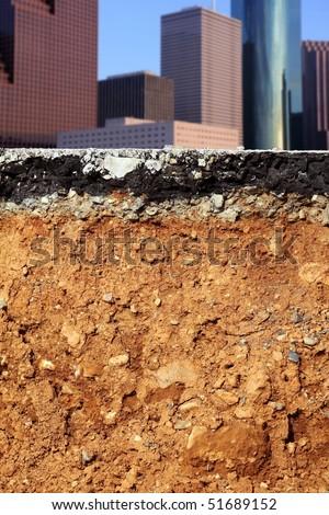 broken city road excavation earthquake cross section [Photo Illustration] - stock photo