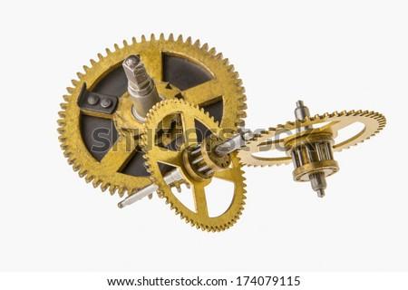 broken clock mechanism exploded isolated on white - stock photo