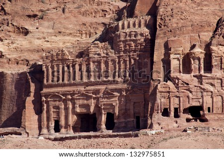 Broken columns and old ruins from the Middle East Lost City of Petra in Jordan, a tourists adventure
