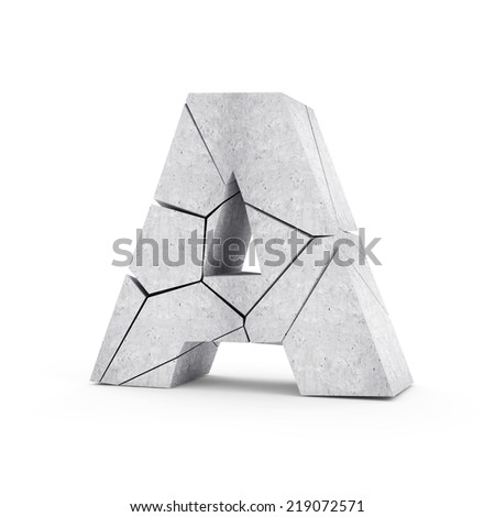 Broken Concrete Alphabet isolated on white background (Letter A) - stock photo