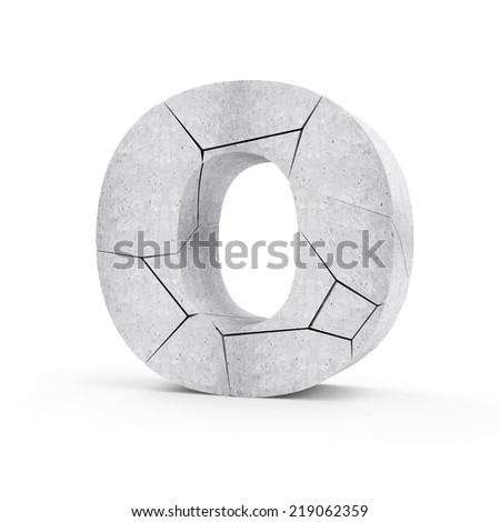 Broken Concrete Alphabet isolated on white background (Letter O) - stock photo
