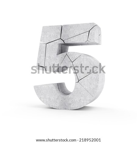 Broken Concrete Numbers isolated on white background (Number 5) - stock photo