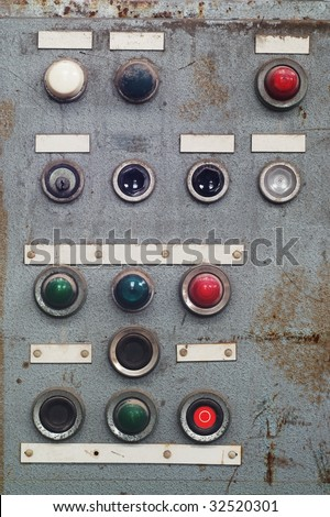 broken control panel, switchboard, with free copy space, grunge