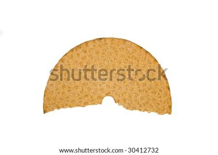 Broken crispbread isolated on white - stock photo