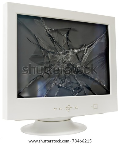 Broken CRT computer monitor isolated with clipping path - stock photo