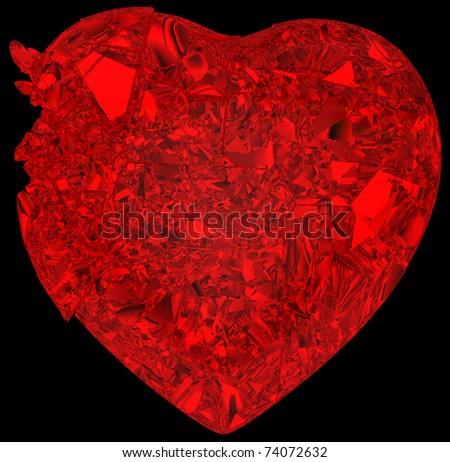 Broken crystal Heart: unrequited love, death, disease or pain. Isolated on black - stock photo