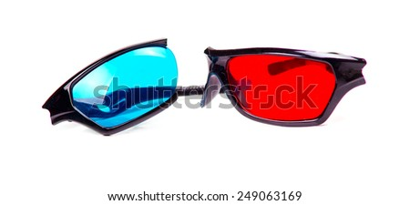Broken 3D three dimensional glasses isolated on white background - stock photo