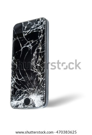 Broken display screen of smart phone on white background
