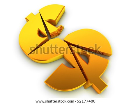 Broken dollar sign. Financial problem concept. - stock photo
