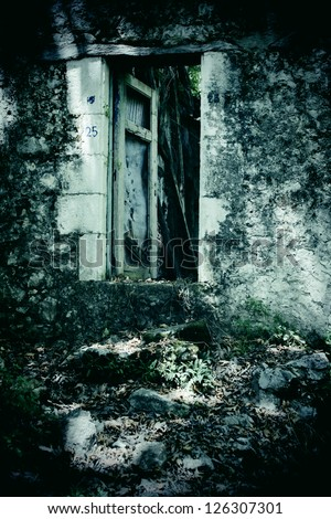 Broken doorway - stock photo