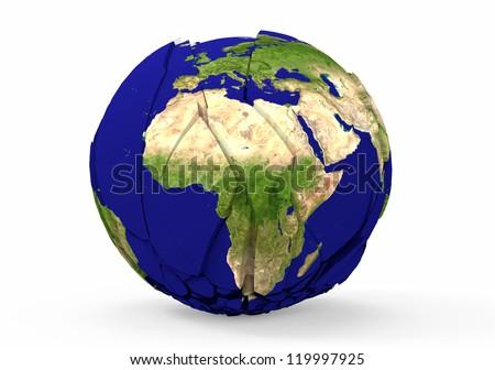 Broken earth globe isolated on white background - stock photo