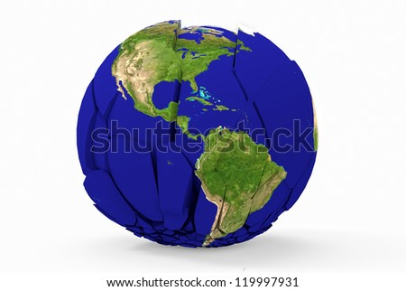 Broken earth globe isolated on white background