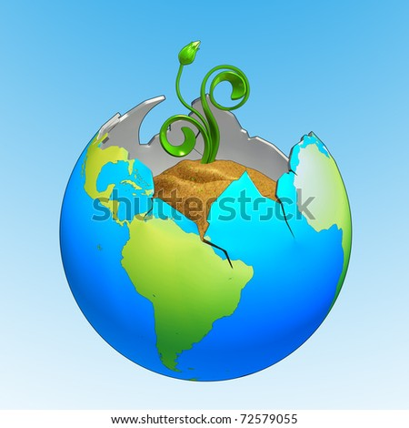 Broken earth with new plant growing out of it, made in 3D software, isolated on blue and white background.