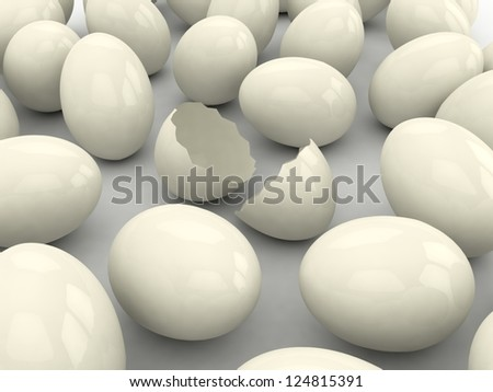 Broken egg among eggs. Wealth concept.