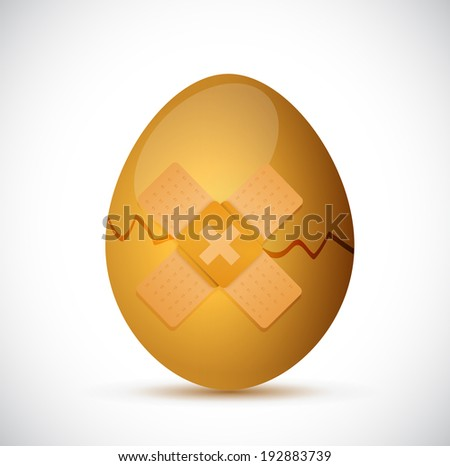 broken egg and band aid illustration design over a white background - stock photo