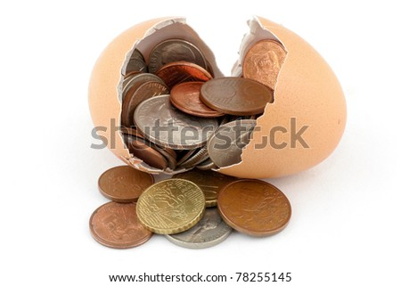 Broken egg and coin inside