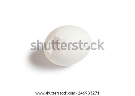 broken egg chicken white isolated - stock photo