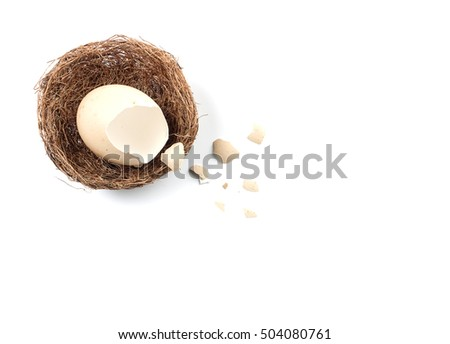 broken egg, egg in nest on white background. with space for text. top view