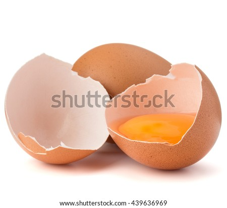 Broken egg in eggshell half and raw egg isolated on white background cutout - stock photo
