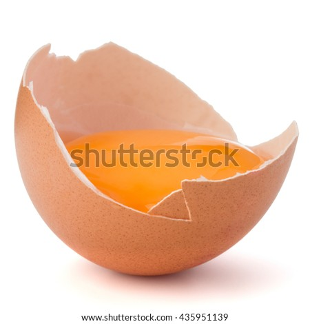 Broken egg  in eggshell half isolated on white background cutout - stock photo