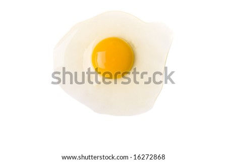 Broken egg isolated on white - stock photo