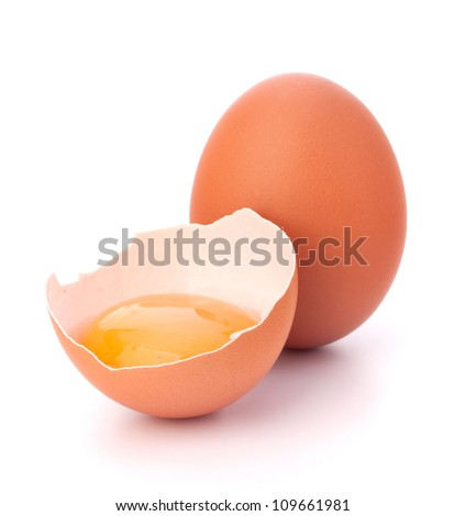 Broken egg isolated on white background