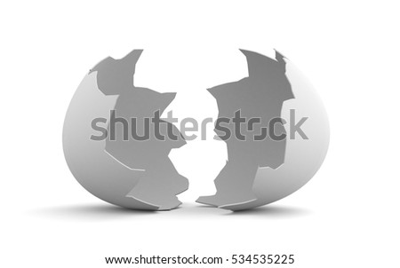 Broken egg shell isolated on white background. 3d illustration