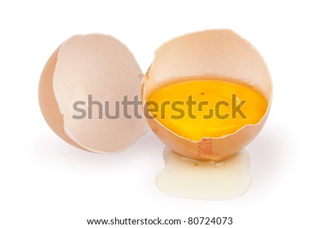Broken egg with yolk showing on white background