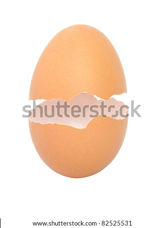 Broken empty egg shell isolated on white background - stock photo