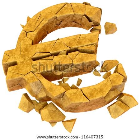 Broken euro as a symbol of european economic crisis - stock photo