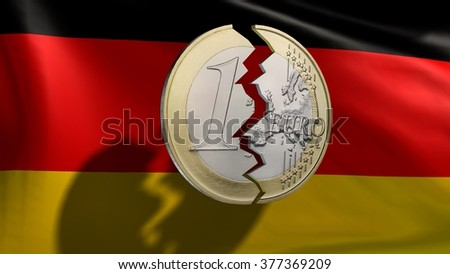 broken euro coin in front germany flag - stock photo